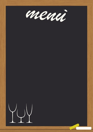 menu on blackboard with frame Vector