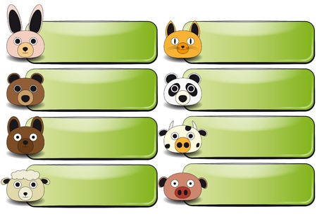 dog ears: illustration of banner with animal face of farm Illustration