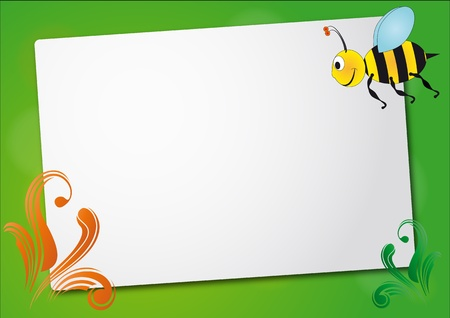illustration of sheet with bee and swirl Vector