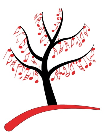 illustration of music note tree