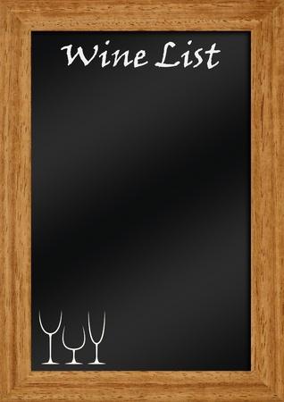 wine list on blackboard with frame photo