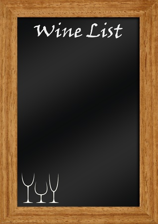 wine list: wine list on blackboard with frame