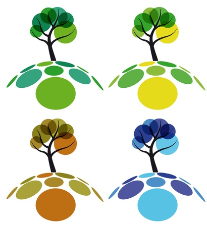 life style: tree four seasons, spring, summer, autumn and winter