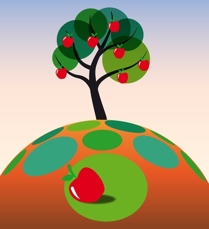 illustration of apple tree on grass Vector