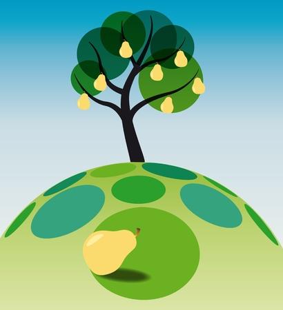 illustration of pear tree on grass Vector