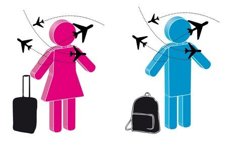 reiziger: illustratie van de reiziger met het vliegtuig en bagage