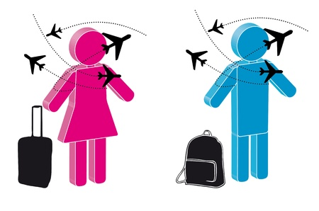 traveler: illustration of traveler with plane and baggage