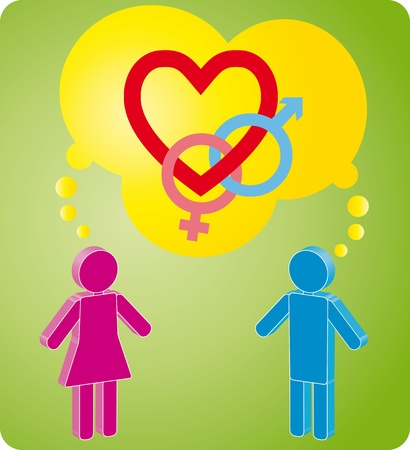 illustration of man and woman in love Vector