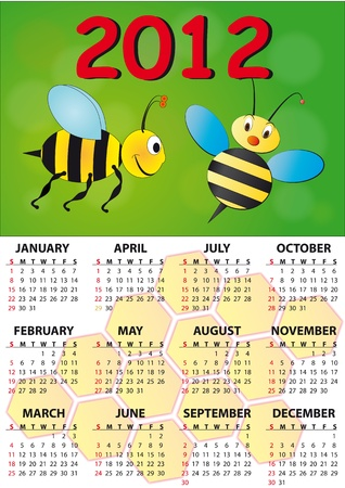 2012 bee calendar for children Stock Vector - 10365794