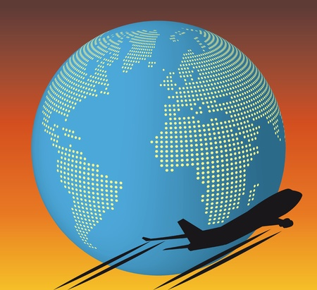 illustration of airplane around the world Vector