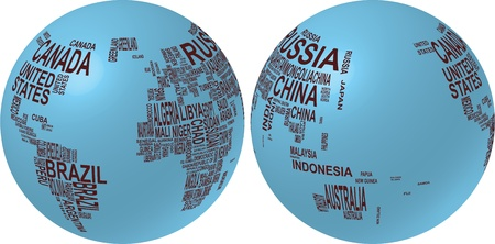 planisphere: illustration of world map globe with country name