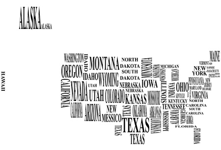 illustration of united states map with country name
