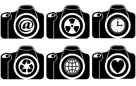 digital slr: illustration of reflex with symbol on lens Illustration