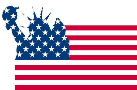illustration of statue of liberty on flag Vector