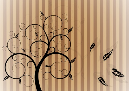 illustration of swirl tree in autumn Иллюстрация
