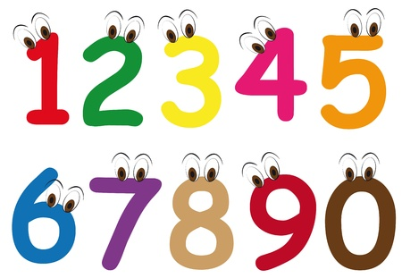 illustration set of number eyes cartoon Vector