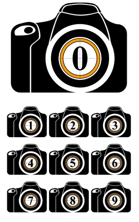 illustration of reflex with numbers on lens Stock Vector - 10596533