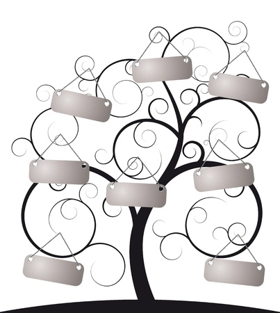 illustration of spiral tree with label Vector