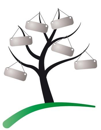 genealogical: Ilustraci�n del �rbol con etiqueta