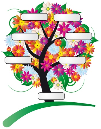 illustration of flower tree with label 向量圖像
