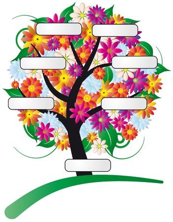 arbol geneal�gico: Ilustraci�n del �rbol de flor con etiqueta Vectores