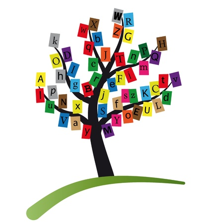 newsprint: illustration of alphabet stylized tree Illustration