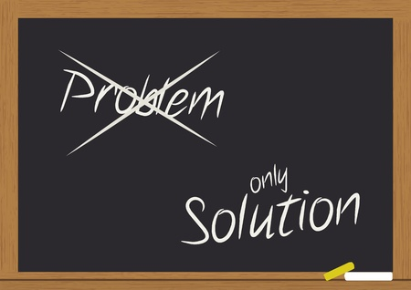 illustration of problem and solution text on chalkboard Stock Vector - 10683940