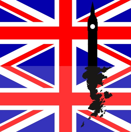 illustration of great britain flag with big ben Vector