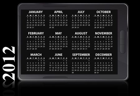 illustration of 2012 electronic calendar Vector
