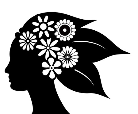 silhouette of hair with flowers and leafs