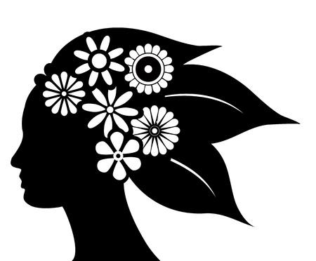 silhouet van haar met bloemen en bladeren Stock Illustratie