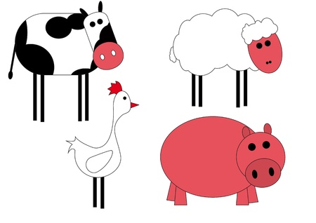 illustration of animals of farm Vector