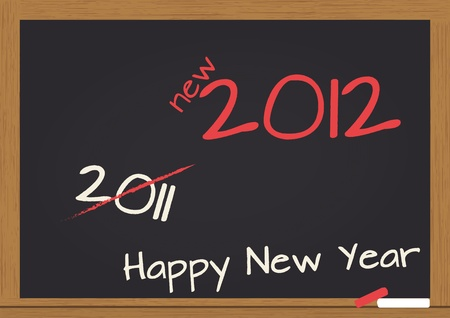 illustration of chalkboard wuth 2012 happy new year text Stock Vector - 10871210
