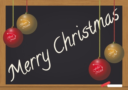 illustration of merry christmas text on chalkboard Stock Vector - 10871211