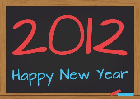 illustration of chalkboard wuth 2012 happy new year text Stock Vector - 10936702