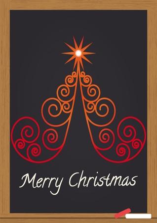 illustration of merry christmas text on chalkboard Stock Vector - 10936705