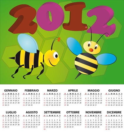 2012 bee calendar for children in italian Vector