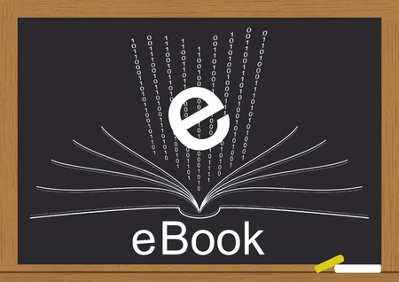 Illustration of electronic book on  chalkboard