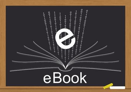 Illustratie van elektronische boeken op schoolbord