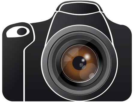 Illustration of eye lens on photo camera  Vector