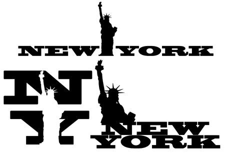Illustratie van New York en het standbeeld van de vrijheid