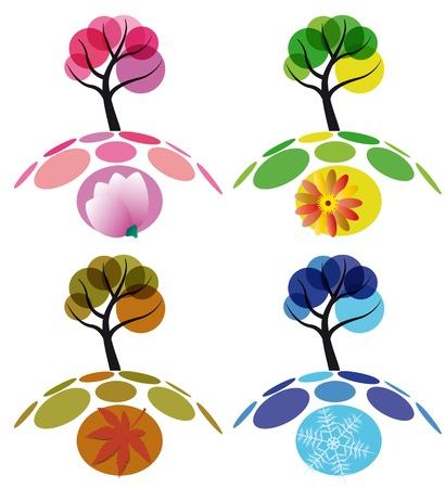 Boom vier seizoenen, lente, zomer, herfst en winter Stock Illustratie