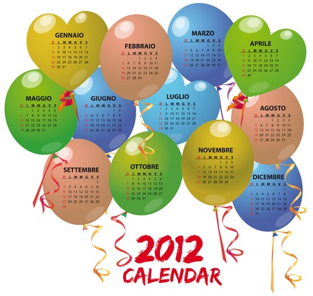 illustration of balloon calendar in italian Vector