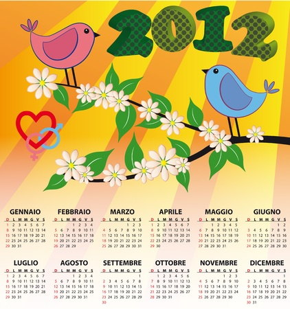 2012 bird calendar for children in italian Vector