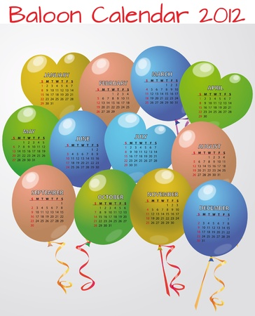 illustration of balloon calendar in english Vector