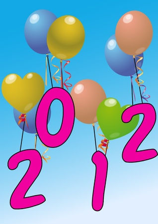 illustration of 2012 year with color balloon  Vector