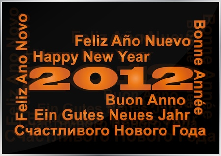 francais: illustration of 2012 happy new year in multi language