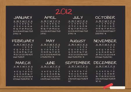 illustration of 2012 calendar in chalkboard Vector