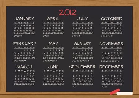 illustration of 2012 calendar in chalkboard Stock Vector - 11127030