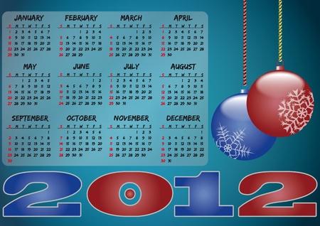 illustration pf 2012 ball xmas calendar  Stock Vector - 11127035